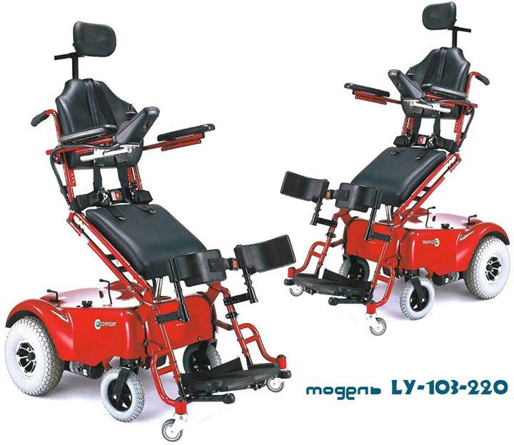 Кресло-коляска с электрическим приводом и с вертикализатором модель LY-103- ...
