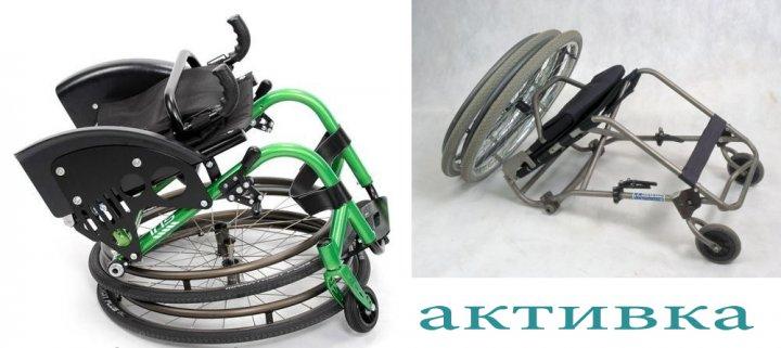 Инвалидная коляска активного типа сложена