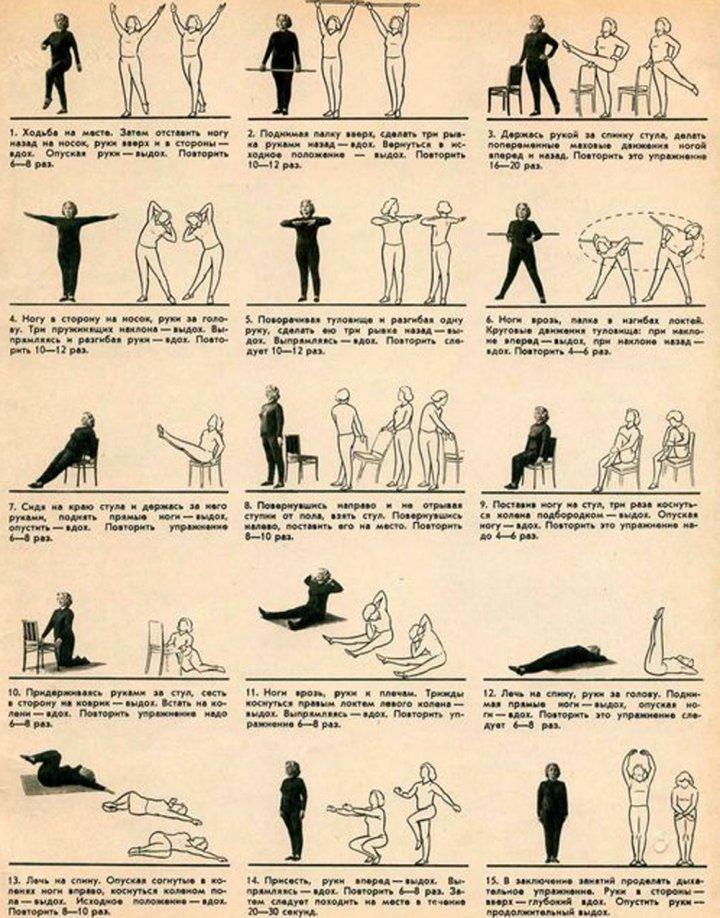 Упражнения при остеопорозе схема